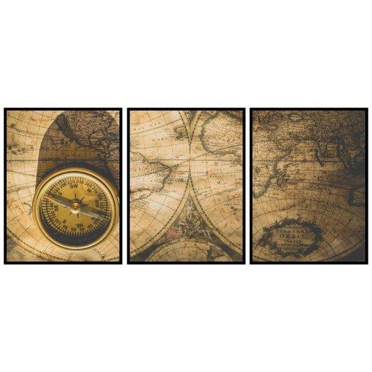 Conjunto de Quadros Mapa Envelhecido e Bússola Kit 3 Quadros de 60x80cm