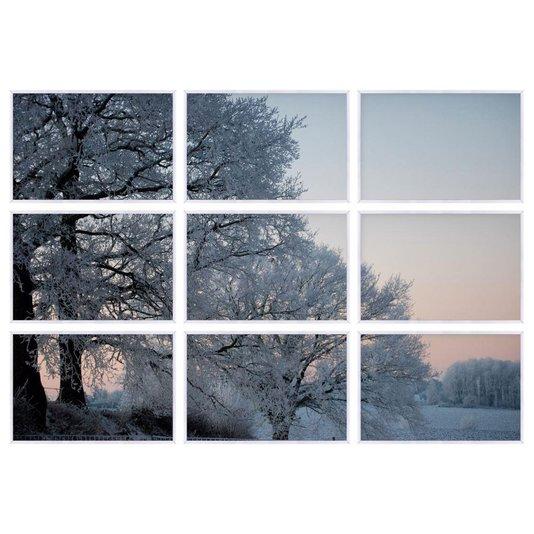 Conjunto de Quadros Árvores no Inverno Kit com 9 Quadros
