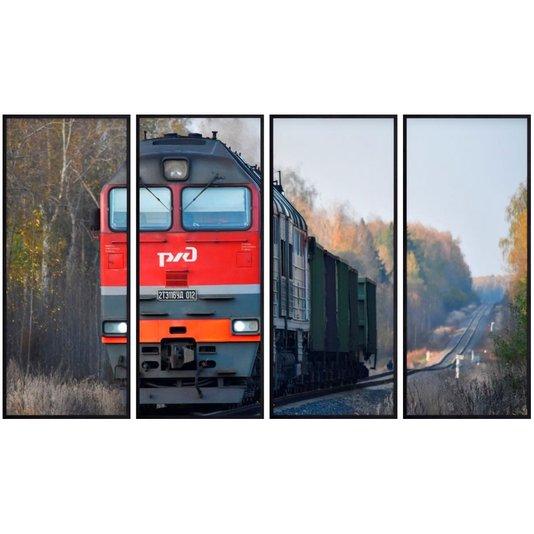 Conjunto de Quadros Locomotiva Sobre Trilho Kit com 4 Quadros