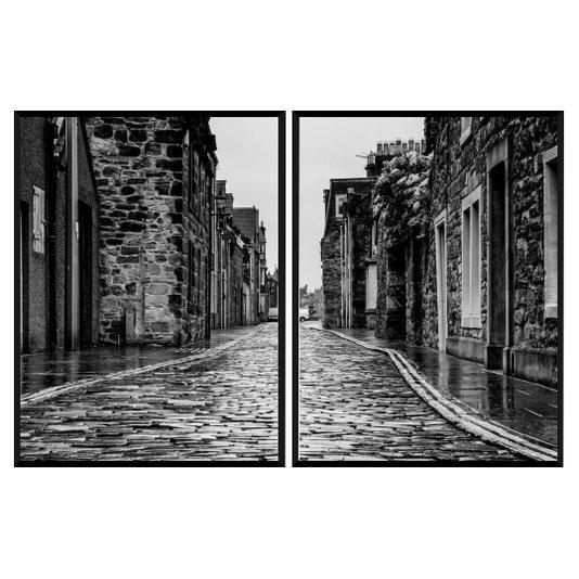 Conjunto de Quadros Rua de Pedra Kit com 2 Quadros de 60x80 cm