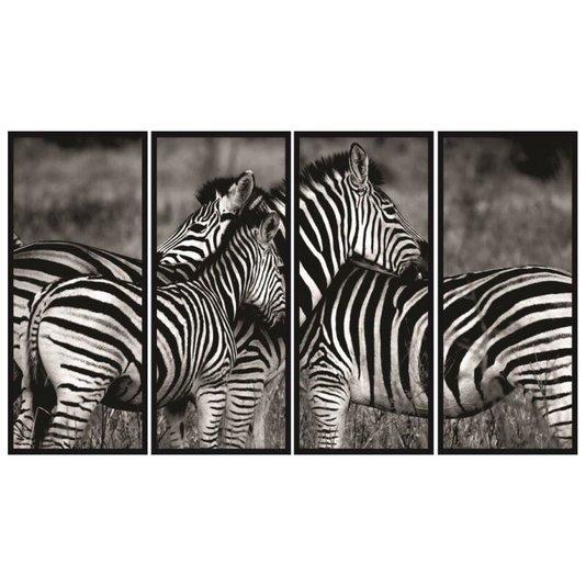 Conjunto de Quadros Décor Zebras 160x100 cm Kit com 4 Quadros