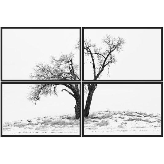 Conjunto de Quadros Paisagem Inverno Kit com 4 Quadros 60x40 cm