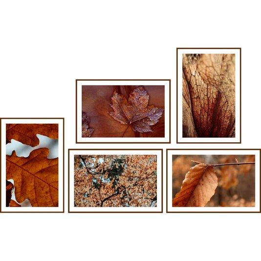 Conjunto de Quadros Folhas de Outono Kit com 5 Quadros de 30x20 cm