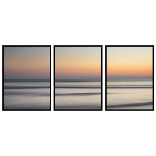 Conjunto de Quadros Horizonte Oceano Nâscer do Sol 190x80 cm
