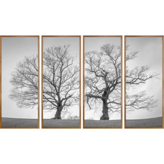 Conjunto de Quadros Paisagem Árvores em Preto e Branco 190x110cm