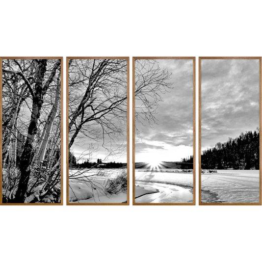 Conjunto de Quadros Paisagem Inverno Preto e Branco 190x110cm
