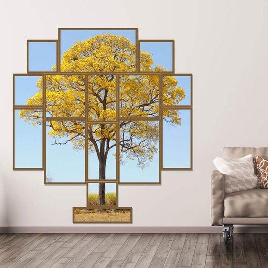Conjunto de Quadros Repartidos Árvore Ipê Amarelo Kit com 15 Quadros