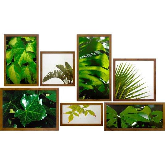 Conjunto de Quadros Rústicos Folhas Verdes Kit com 7 Quadros 200x120 Cm