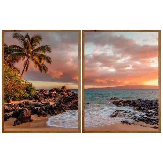 Conjunto de Quadros Rústicos Paisagem Praia no Hawaii Kit com 2 Quadros