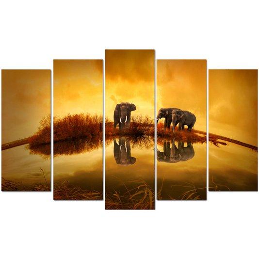 Conjunto de Quadros Telas Decorativas Elefantes Kit com 5 Quadros 130x80cm