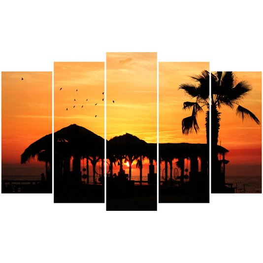 Conjunto de Quadros Telas Decorativas Kit com 5 Quadros Praia Sunset