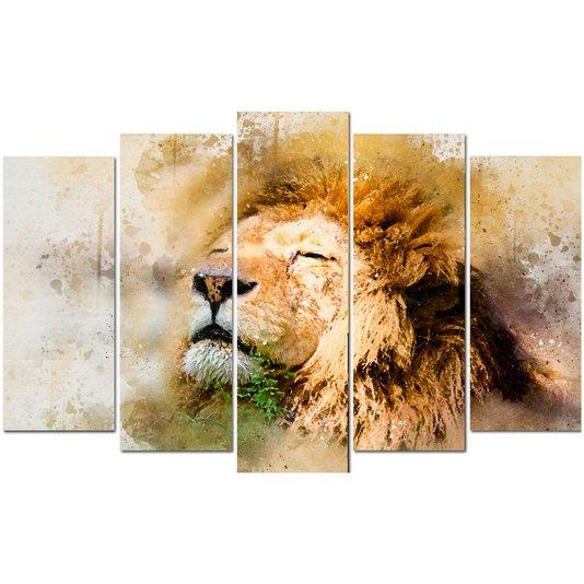 Conjunto de Quadros Telas Decorativas Leão Kit com 5 Quadros