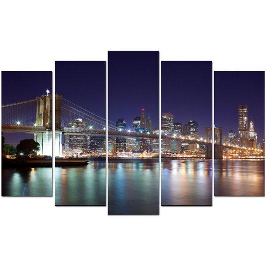 Conjunto de Quadros em Telas Ponte Brooklyn Kit com 5 Quadros