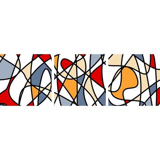 Conjunto de Telas Decorativas Abstratas Kit com 3 Telas de 100x100 cm