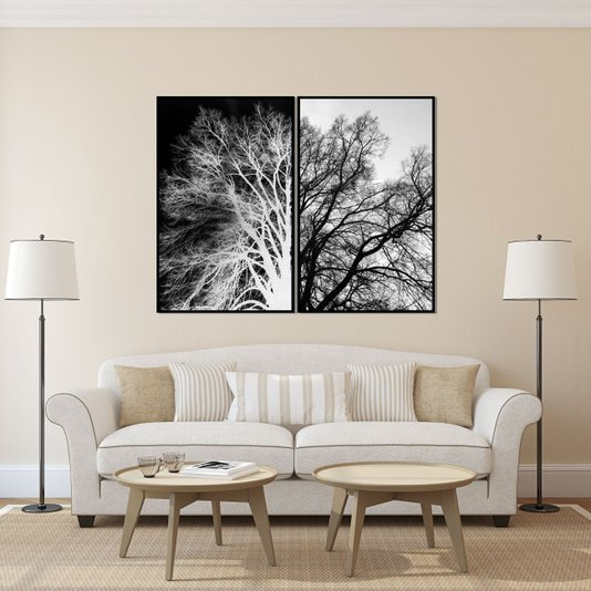 Conjunto Quadros Preto e Branco Árvore Seca Positivo Negativo 160x120 cm