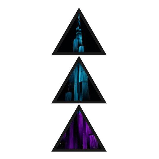 Conjunto Trio de Quadros Formato Triângulos Burj Khalifa 43x115cm