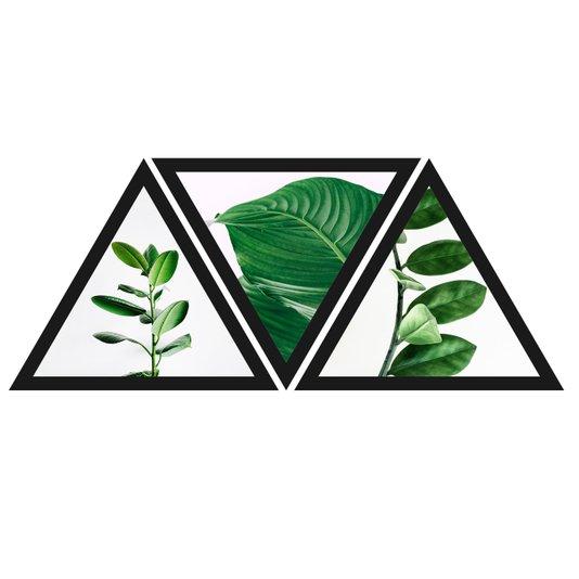 Conjunto Trio de Quadros Formato Triângulos Folhas Verdes 90x40cm