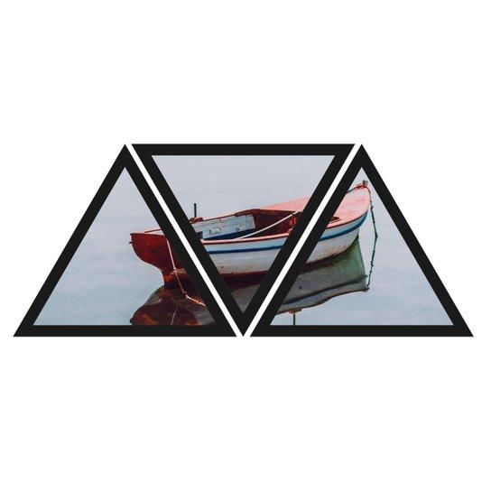 Conjunto Trio de Quadros Triângulos Lagoa Barco 90x40cm