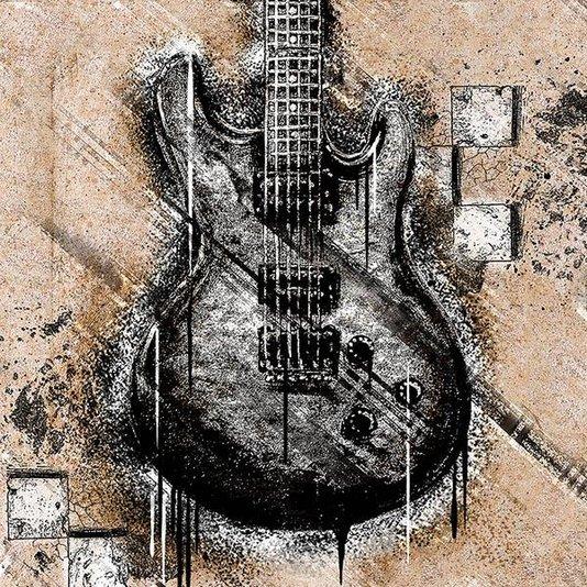 Gravura para Quadros Guitarra Preta 30x30cm
