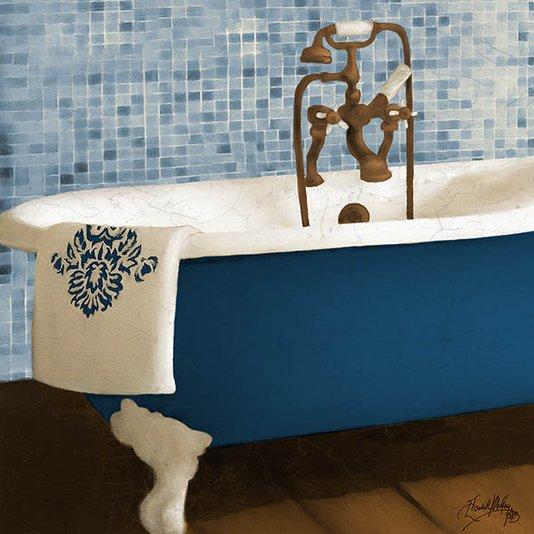 Gravura para Quadros Lavabo Banheira Azul e Branca 30x30cm