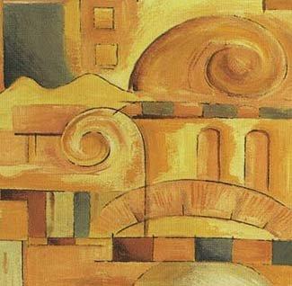 Gravura Abstrata para Quadros Cor Amarela 35x35cm