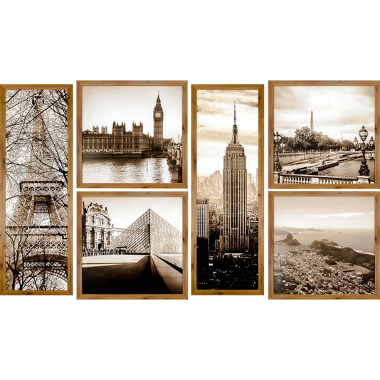 Conjunto de Quadros Rústicos Pontos Turísticos Cidades Kit com 6 Quadros 180x110cm