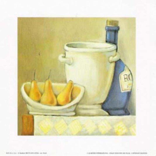 Gravura para Quadros Recipientes e Frutas Amarelas 20x20cm