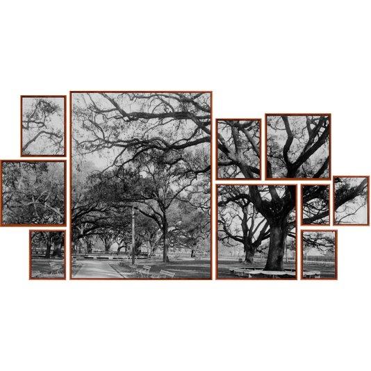 Conjunto de Quadros Telas Decorativas Paisagem Parque Kit com 10 Quadros