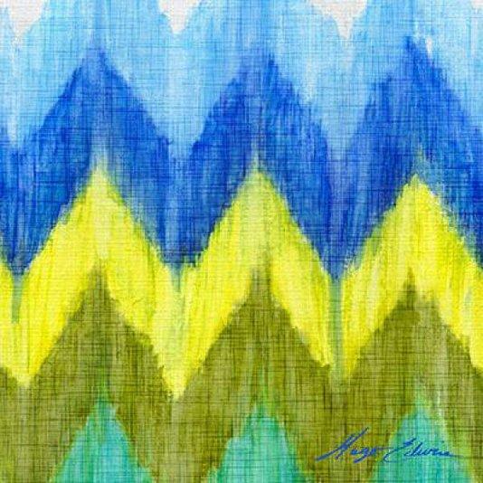 Gravura Abstrata para Quadros Chevron Brilhante I de Hugo Edwins 46x46cm