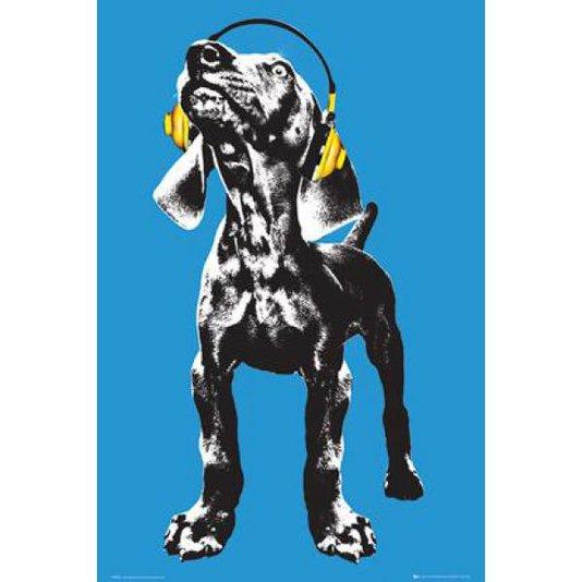 Gravura Poster para Quadros Pet Cachorro com Fone de Ouvido 60x90cm