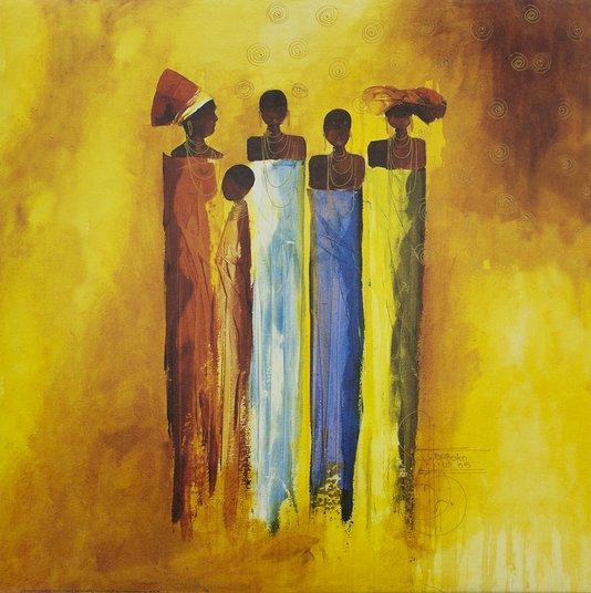 Gravura para Quadros Figurativa Mulheres Africanas 50x50cm