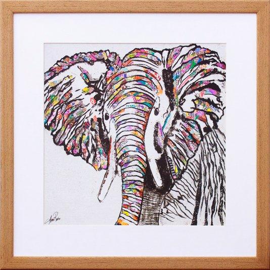 Quadro Decorativo Ilustração Elefante Colorido 40x40cm