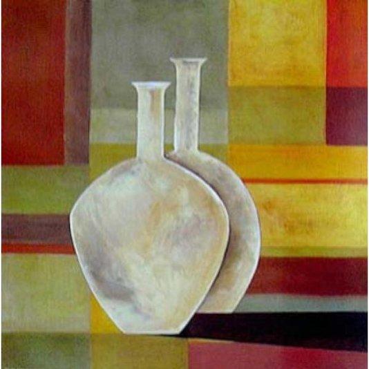 Gravura para Quadros Vasos em Fundo Colorido 30x30cm