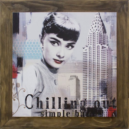 Quadro Tela Decorativa Emoldurada Audrey Hepburn Nova York 80x80cm
