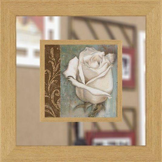 Quadro Decorativo com Espelho de Flor Branca 65x65cm - DP1600
