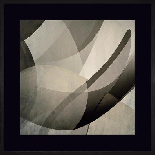 Quadro Decorativo Abstrato com Moldura e Margem Preta Ii 90x90cm
