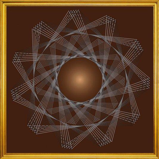 Quadro Decorativo com Moldura Dourada Desenho Geométrico Rotação 70x70cm