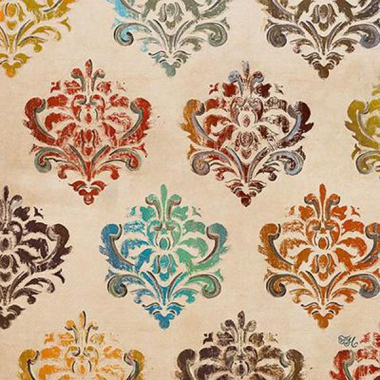 Gravura Abstrata para Quadros Damascos Coloridos I de Tiffany Hakimipour 46x46cm