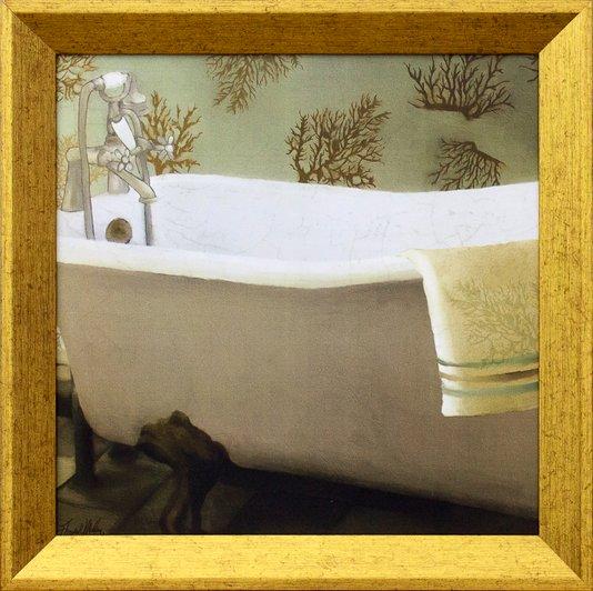 Quadro Decorativo com Moldura Dourada Banheira Branca 30x30cm