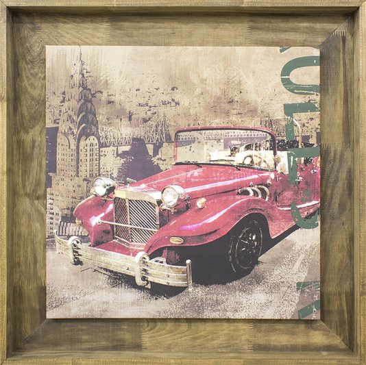 Quadro Decorativo Carro Antigo Vermelho Tela Emoldurada 80x80cm