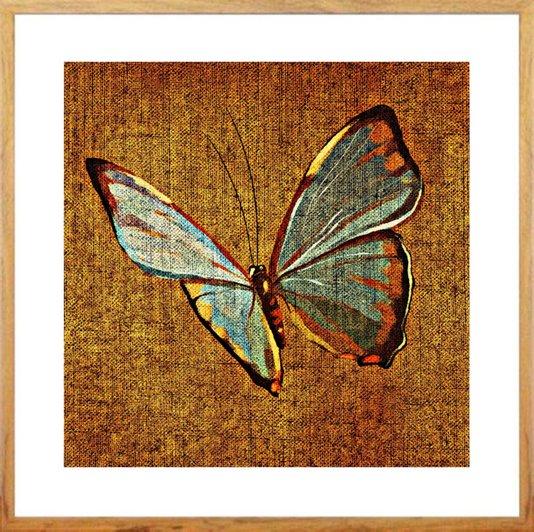 Quadro Decorativo com Moldura na Cor Carvalho Borboleta Colorida 50x50cm