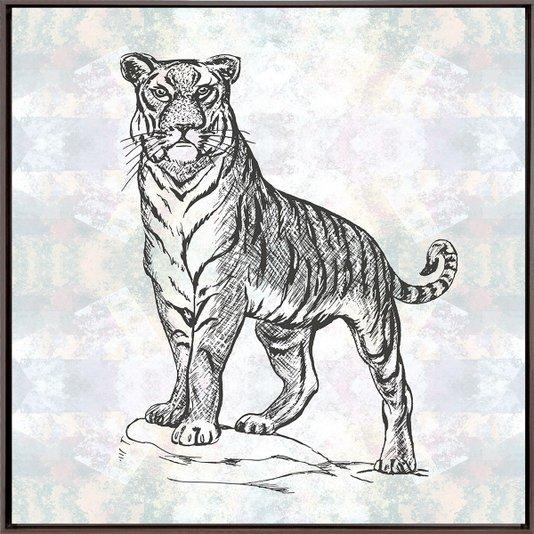 Quadro Canvas Tela com Moldura Marrom Ilustração Tigre 60x60cm