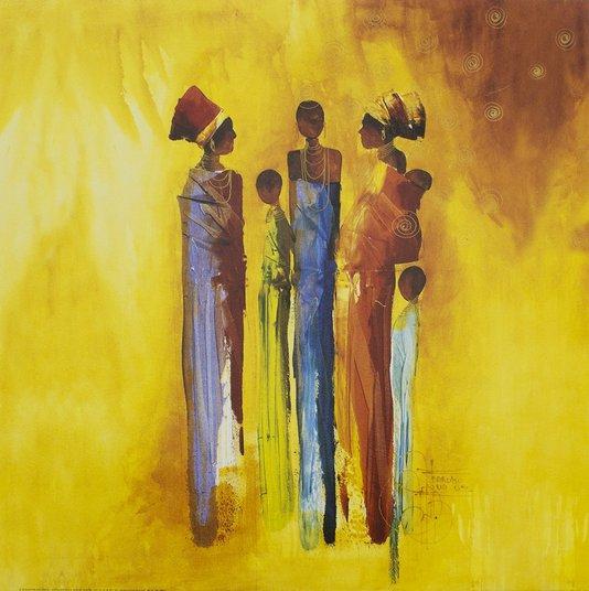 Gravura para Quadros Mulheres Africanas Figurativa 50x50cm