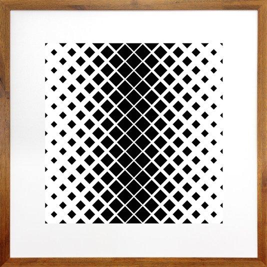 Quadro Decorativo com Moldura Rústica Arte Geométrica Quadrados 70x70cm