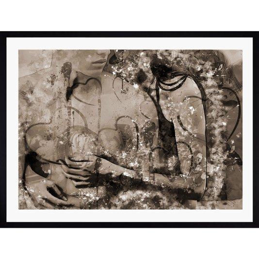 Quadro Abstrato Decor Moldura Preta Abraço Casal 90x70cm