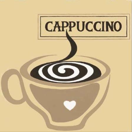 Gravuras para Quadros Cappuccino Xícara com Coração 30x30cm
