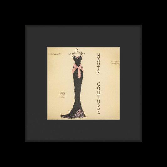 Quadro Decorativo Vestido Preto com Rosa Alta Costura 65x65cm