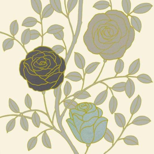 Gravura para Quadros Floral Design 17x17cm