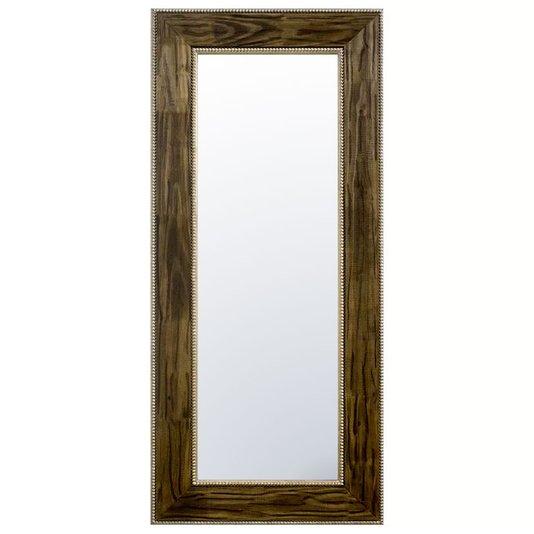Espelho Cristal com Moldura Marrom e Folheada em Prata Envelhecido
