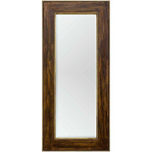 Espelho Cristal com Moldura Marrom e Ouro Envelhecido Rústico